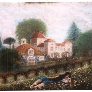Jeune fille devant Pourtaou par Jean Rameau