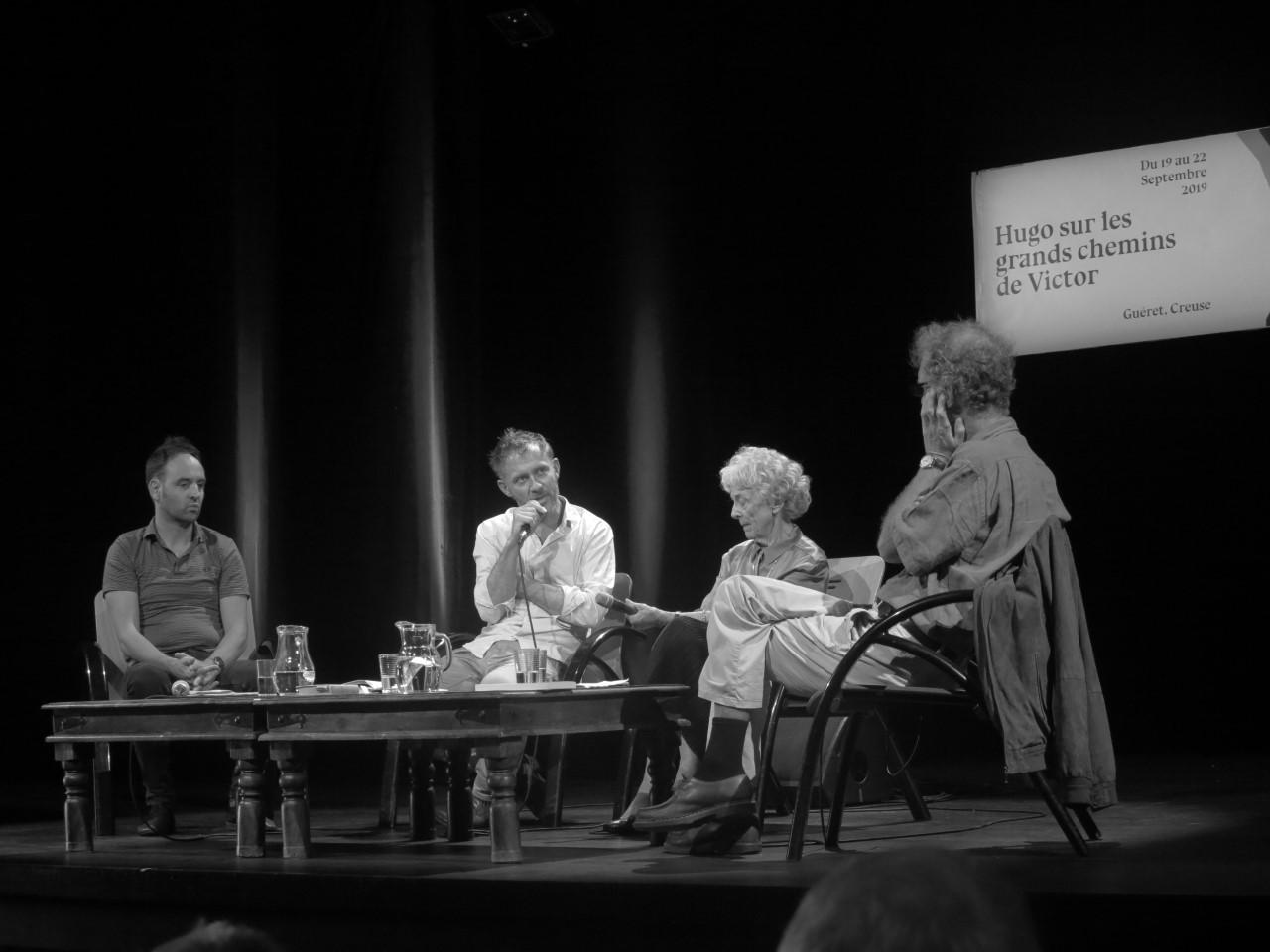 De gauche à droite : Ismaël Jude, Arno Bertina, Mona Ozouf et Édouard Launet ©idlt-Chaminadour